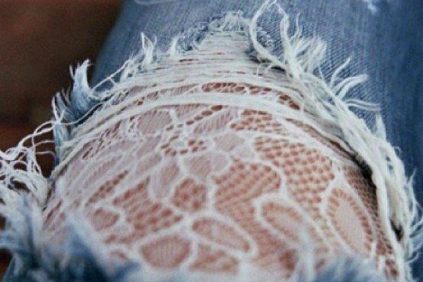Кружевные дыры на джинсах